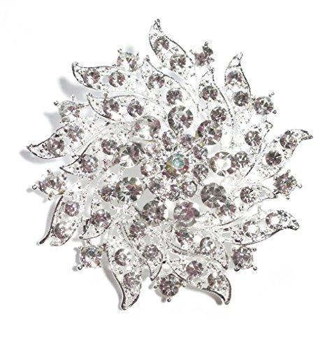 Unbekannt Elegante wunderschöne große Blumen Strass Kristall Brosche Silber 6,5 cm (BR052)