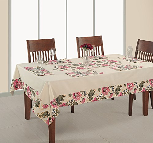 Gedruckt und massiver Tisch, 6-Sitzer 152,4x 228,6cm, 100% Ente Baumwolle, quadratisch rds16–3612sp, beige, baumwolle, beige, 124 x 52 Inch (Vinyl Tischdecke Quadratisch 52x52)