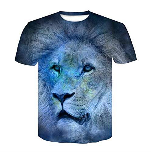 Männer Schädel gedruckt Compression Fitness T-Shirt Jogging-Bewegung Kurzarm T-Shirt Slogan,3D Löwendruck - a2 Blau - 1 2XL Sonic Ringer