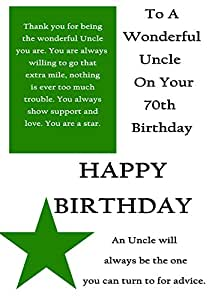 Uncle 70th birthday card with removable laminate amazon greeting cards m4hsunfo