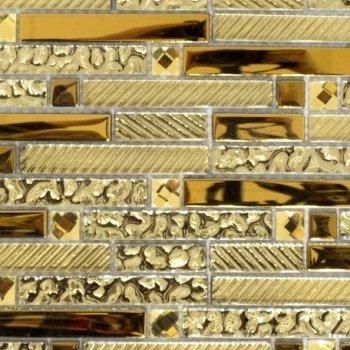 Glasmosaik gold Mosaik Fliese Transluzent Verbund Glasmosaik Crystal gelbgold für WAND BAD WC DUSCHE KÜCHE FLIESENSPIEGEL THEKENVERKLEIDUNG BADEWANNENVERKLEIDUNG Mosaikmatte Mosaikplatte