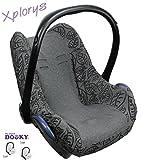 Original DOOKY BabyFit ** UNIVERSAL Schonbezug / Ersatzbezug für 3 und 5 Punkt Gurt System ** Babyschale, Autositz wie z.B. für Maxi-Cosi, Cybex etc.** GREY LEAVES **