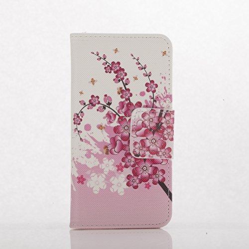 Voguecase® Pour Apple iPhone 7 Plus 5,5 Coque, Étui en cuir synthétique chic avec fonction support pratique pour Apple iPhone 7 Plus 5,5 (fleur rouge 07)de Gratuit stylet l'écran aléatoire universelle Plum fleur