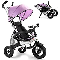 UBRAVOO Baby Tricycle, 6-in-1 Foldable Steer Stroller, Learning Bike w/Detachable Guardrail, Adjustable Canopy, Safety Harness, Folding Pedal, Storage Bag, Brake, Shock Absorption Design (Pink)