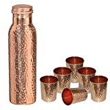 DakshCraft ® Reines Kupfer gehämmert Stilvolle Joint Wasserflasche für Ayurvedic Health Benefits (28,74 Unzen / 850 ml) mit 6 Small Copper Hammered Wasser Tümmler (8,1 oz / 239 ml)