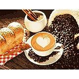 Pittura A Olio Fai da Te con Numeri caffè E Pane Senza Cornice Cornice per Numero sulla Tela Immagini A Parete per Arte della Parete Decorazione Domestica