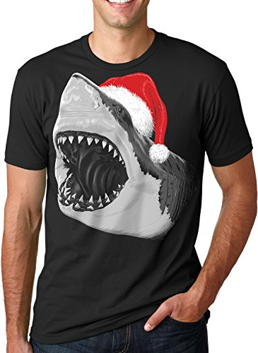 Crazy Dog TShirts - Mens Santa Jaws T Shirt Cool Christmas Hat Shark Ocean Pun Tee For Xmas Party (black) 5XL - herren - 5XL