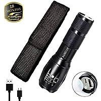 Torcia LED Aukelly tattica, con zoom regolabile, 5modalità, impermeabile IP65, ricaricabile, Alluminio 10.00W 3.70V