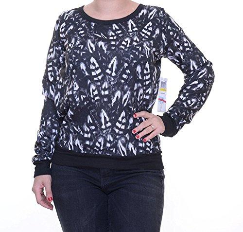 jessica-simpson-womens-abierta-posterior-guarnecido-estriada-pullover-sweater-m-negro