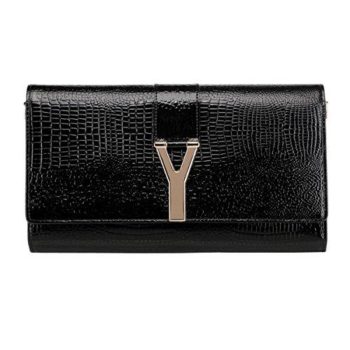 Messenger Bag Mode Lackleder Kupplungstasche Bankett Black