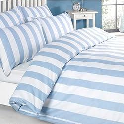 Louisiana Bedding Vertical Stripe Blue & White Duvet Cover Set 100% Cotton 200 Thread Count – Double