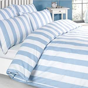 Louisiana vertical blue white stripe duvet cover set 100 - Housse de couette rayee bleu et blanc ...