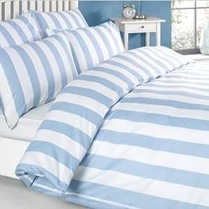 Louisiana parure de lit housse de couette 100 coton 200 fils rayures bleu blanc double - Couette de lit duvet ...