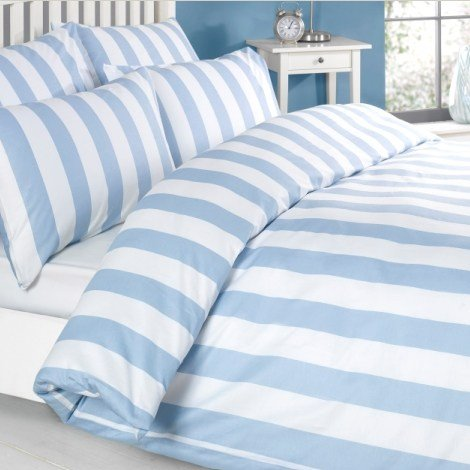 Louisiana Vertical Blue & White Stripe Duvet Cover Set 100% Cotton 200 Thread Count - Double (Baumwolle-thread 100%)