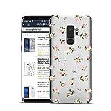 HULI Design Case Hülle für Samsung Galaxy S9 Plus mit Rosen Muster - Handy Schutzhülle klar aus Silikon mit romantischen Blumen Romantik - Handyhülle durchsichtig mit Druck
