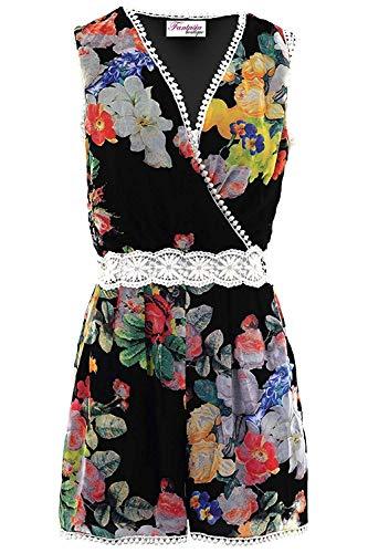 Fantasia Boutique® Femmes sans Manches Enveloppe Col V Crochet Floral Mousseline Dentelle Doublé Combishort - Noir, 38