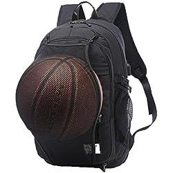 """valleycomfy joven hombres, de lienzo deporte mochila con red de baloncesto plegable y USB interfaz de carga para ocio/deporte/viaje bolsas de hombro (hasta 15,6""""), negro"""