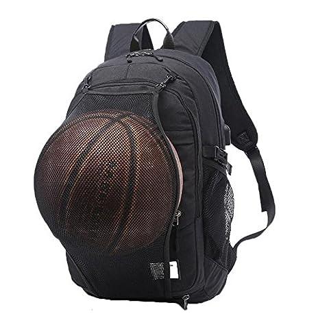 Valleycomfy Jeune homme garçon Toile Sac à dos de sport avec pliable Panier de basketball et chargement USB Interface pour loisirs/sport/voyage Sacs à bandoulière (jusqu'à 39,6cm),