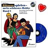 Jouer-de-la-guitare--Mon-schnstes-Hobby-1--moderne-Guitare-cole-pour-les-jeunes-et-adultes-de-Rolf-tnnes--avec-CD-et-color-Cur-Note-Pince