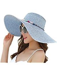 Leisial Femme Capeline de paille Chapeau à large bord Anti-soleil Respirant Anti UV Chapeau de soleil pour été plage Loisir Voyage
