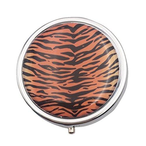 Sharplace Portable 3 Fach Rund Pillendose Pillenbox Kasten Speicher mit Interner Spiegel, aus Edelstahl - Tiger Stripes, 4.8cm