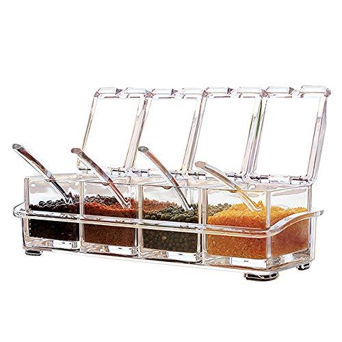 Sprießen 4 Stück Küche transparent Acryl Würze Box Vier in One Spice Dosen mit Löffeln und Gewürzbehälter, Küchenutensilien (Acryl-box)