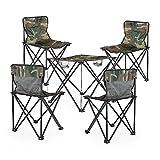 TangMengYun Outdoor Klapptisch Camping Tisch und Stühle Set Klappbare Portable Fünf-teilige Camouflage Einfache Kombination für Beach Garden Courtyard
