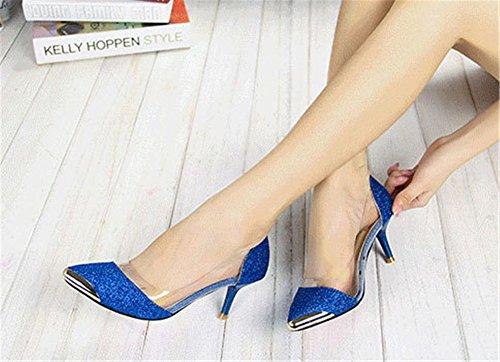 ... Femme Talons Fermé Cm Or Escarpins Haute Sandales Bout Bleu Wealsex 6  Moyen Couleur Paillette xFf7wYBn ... b1535470cbb5