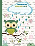 Handwriting Practice Paper: Blank Lined Paper Notebook with Cute Owl, Large Composition Book for Kids from Kindergarten to 3rd Grade, 8,5x11 inches 50 Sheets/100 Pages, Dotted Midline