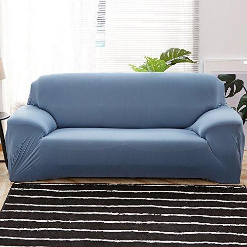 3 Sitzer Sofabezug Sofahusse Sesselbezug Sesselhusse Sofaüberwurf Elastisch Verfügbar in Verschiedenen Größen und Farben (3 Sitzer 190-230cm, Grau-Blau)
