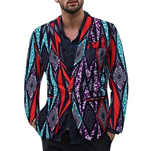 Herren Anzug Große Größen Slim Fit Hawaii Muster Jacke Dasongff Männer Mantel für Reisen und Party Business Casual One Button Suit Blazer Regular Fit Blazer Mens Top Coat Outwear Ethnisch Stil -