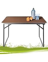 Table de camping pliante valise Aluminium Table manger pliable effet bois 80x60x70cm