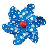 CIM Fahrradwindmühle - Moulin Velo 12cm - Blue Dots - Windrad Ø12cm - Windspiel für Alle Fahrräder, Roller, Dreiräder, Laufräder, Kinderwagen und Buggys