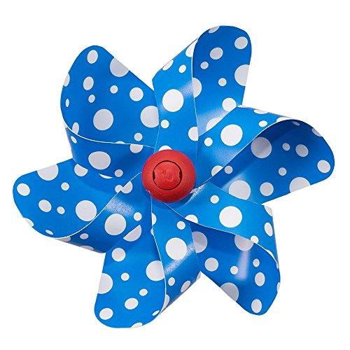 CIM Fahrrad-Windmühle - Moulin Velo 12cm - Blue Dots - Windrad Ø12cm - Windspiel für alle Fahrräder, Roller, Dreiräder, Laufräder, Kinderwagen und Buggys -