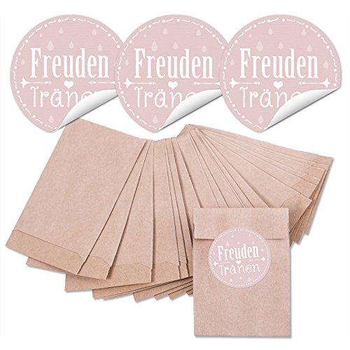 48 braune MINI Papier-Tüten Tütchen 6,3 x 9,3 cm + 48 runde Aufkleber FREUDENTRÄNEN in pastell-farben rose rosa 4 cm, für Papier-Taschentücher Tempo Verpackung zur Hochzeit