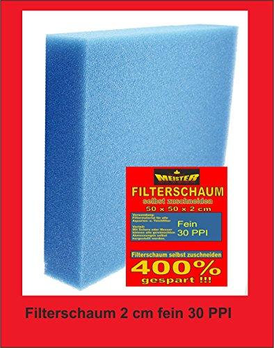 Wohnkult Filtermatte Filterschwamm 100 x 50 x 10 cm Fein PPI 30 Teich Filter Aquarium Koi Filterung