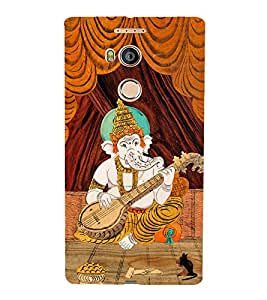 Fiobs Designer Back Case Cover for Gionee Elife E8 (Gold Ganapati Ganesh Ganesha Veenavadan)