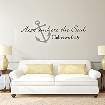 Scripture Wall Decal  Anchor Wall Decal  Hope Anchors The Soul Wall Decal  Bible Verse Wall Sticker Art A(Medium,Anchor:Slate Gray;Words:Black)