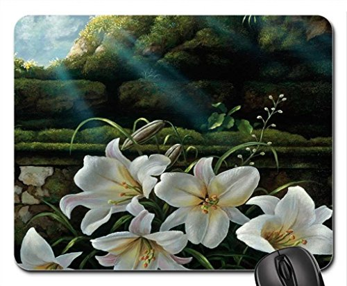 lilies-bloom-to-light-mouse-pad-mousepad-flowers-mouse-pad