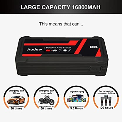 Audew Arrancador de Emergencia Portatil para Coche de Emergencia con Alta Capacidad 16800mAh 800A