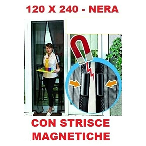 Tenda zanzariera nera magnetica a calamita 120x240cm porta balcone anti zanzare