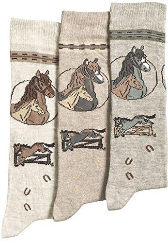 3er PACK Pferde Kinder- Kniestrümpfe (9-10 = 35-38, beige-braun-graun)