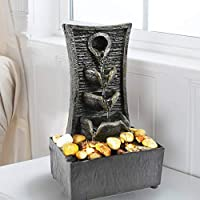 GEEZY Indoor Fountain Water Feature LED Lights Polyresin Statues Home Decoration (Tiers Fountain)