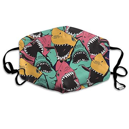 Louis Berry Keime Staubschutzmaske, wiederverwendbar, für Männer und Frauen, wütender Haifischmuster, Mundmaske, Unisex
