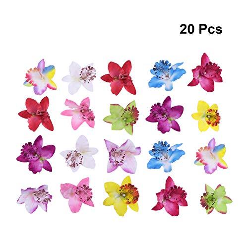 Lurrose 20 UNIDS Hawaiian Phalaenopsis Flor Pinza de Pelo Mariposa Horquillas para Mujeres Niñas Decoración Del Partido Hawaiano