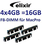 Elixir original 4 x 4GB = 16GB Kit 240 pin FB-DIMM DDR2-800 PC2-6400 128Mx4x36 double side (M2D4G72TU4ND9B-AC) für Apple MacPro Systeme 1,1 2,1 3,1 (Baujahre 2006 bis 2008) Modelle