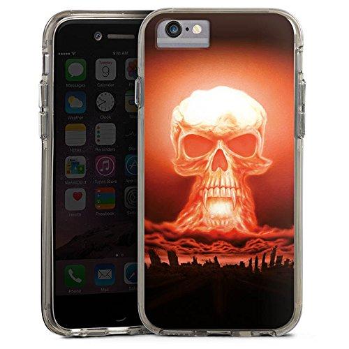 Apple iPhone X Bumper Hülle Bumper Case Glitzer Hülle Explosion Skull Totenkopf Bumper Case transparent grau