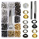 KINDPMA 200Pcs Occhielli Metallici 6mm Occhielli per Teloni Tende Occhiello Strumento Kit Include 1 Occhiellatrice 1 Strumento di Installazione Occhielli per Borse Scarpe Fai Da Te 4 Colori