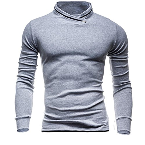 Longra Herren Sweatshirt Langarmshirt Pullover Herren Warm Basic Herbst Winter feste Sweatshirts Oversize Pullover Tops Bluse (Gray, L) (Passform-jeans-latzhose)