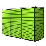 Garten[Q] Trash-3 Mülltonnenbox,  Mülltonnenhaus Modul für 3 Mülltonnen bis 240 Liter, wetterfest aus HPL Trespa,  Höhe 120 cm,  schmale Streifendesign